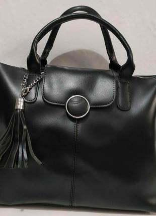 Женская сумка с кисточкой (чёрная) 20-01-021