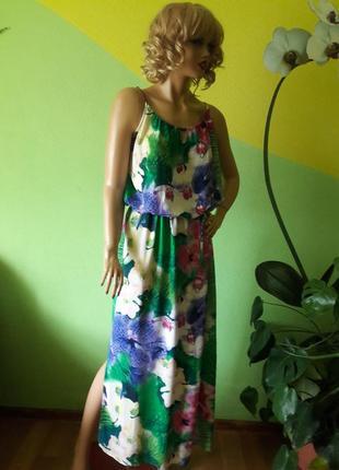 Летнее платье принт орхидеи