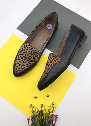 Кожаные туфли балетки с леопардовым принтом