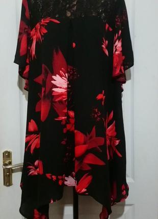 Яркая блуза ассиметрия. на красивые формы.