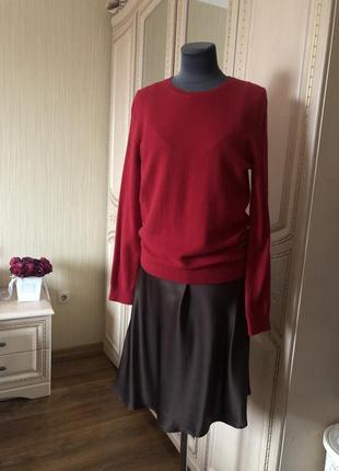 Роскошный яркий кашемировый джемпер пуловер, ярко красныйнатуральный кашемир,