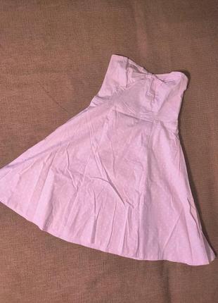 Платье миди нарядное без бретелек в горошек