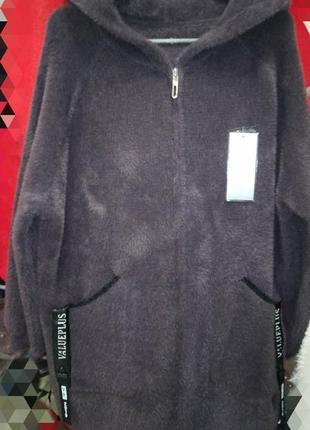Кардиган- пальто с альпака лама, италия, размер 50-56
