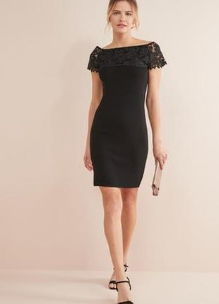 Next бесподобное платье по фигуре с кружевным верхом, р.12-40, м-ка