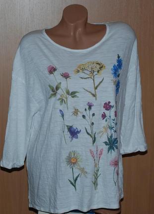 Блуза бренда evans/ 56%хлопок/принтованая cпереди /