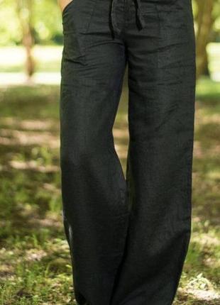 Чёрные брюки лён- s,m.