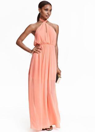 Коралловое элегантное легкое длинное платье h&m