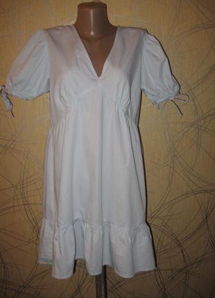 Платье хлопковое летнее свободного кроя с оборкой