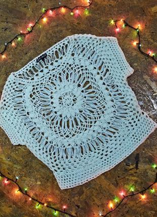 Вязаная накидка / свитер / кофта  / молочный белый свитерок / бохо  стиль инди этно