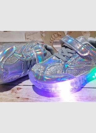 Голографические кроссовки с led подсветкой