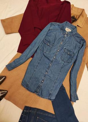 Натуральная хлопковая джинсовая рубашка синяя голубая с длинным рукавом denim co