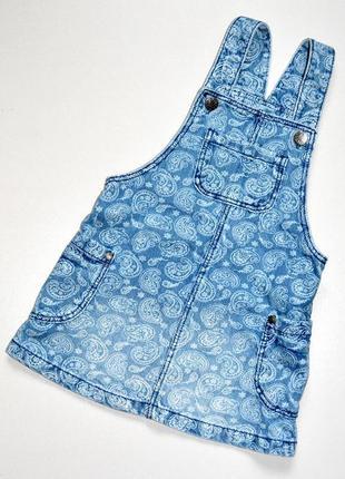 F&f. джинсовый сарафан с рисунком. 2-3 года. рост 98 см