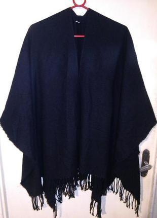Асимметрич,накидка-разлетайка с бахромой,в стиле бохо,большого размера,оверсайз