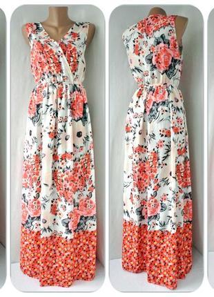 Красивейшее длинное платье в пол parisian с цветочным принтом. размер uk14/eur42.