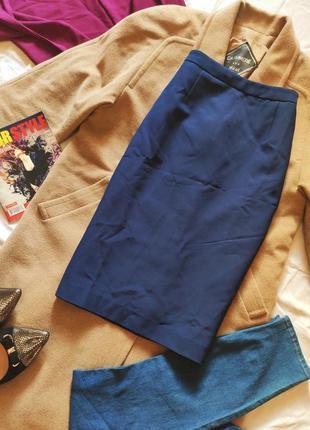 Юбка миди синяя по фигуре классическая на подкладке