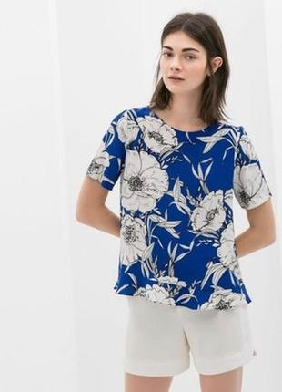 Блузка в цветочный принт топ zara футболка цветы