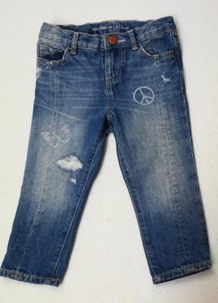 Gap. джинсы тонкие, рваные на резинке 92 размер.