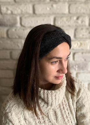 Женская теплая повязка на голову, чалма ангорка черная