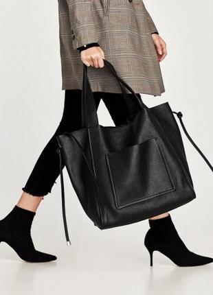 Кожаная  сумка шоппер zara / шкіряна сумка