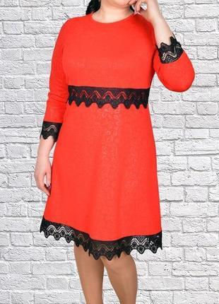 Красное платье с кружевом, большой размер