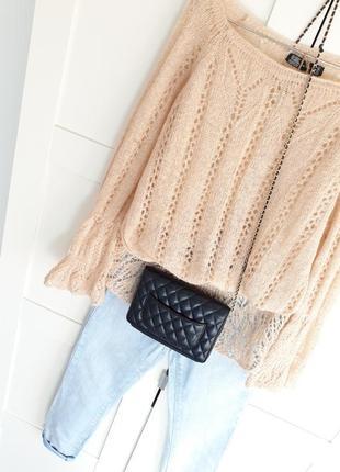 Zara, мохеровая кофта с ажурной вязкой