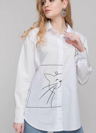 Скидка!!!блуза рубашка с котиком