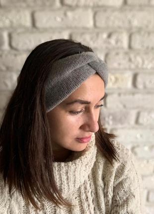 Женская широкая повязка на голову, чалма ангорка серая