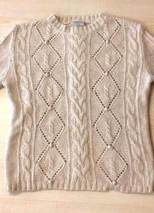 Трендовый шерстяной теплый большой свитер джемпер оверсайз с косами h&m