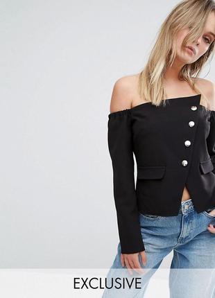 Стильный блайзер на плечи ассиметричный пиджак на пуговицах   missguided