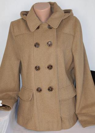 Демисезонное пальто полупальто с капюшоном и карманами new look вьетнам большой размер
