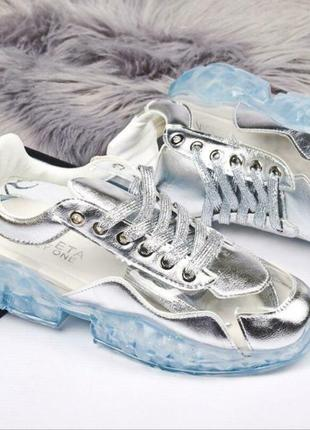Серебряные силиконовые кроссовки