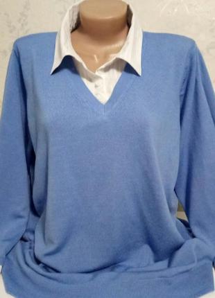 Джемперок  рубашка из шерсти мериноса marks & spencer