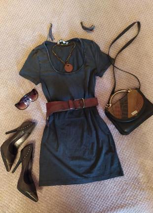 Платье туника удлиненная футболка темный джинс натуральная приятная серый короткий рукав