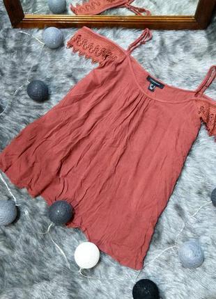 Топ блуза кофточка на бретелях с вырезами на плечах atmosphere
