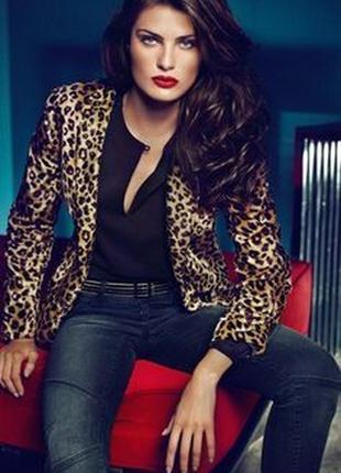 Брендовый леопардовый меховой пиджак жакет marks&spencer марокко коттон вискоза