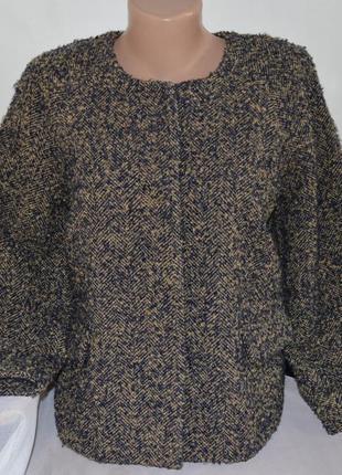 Брендовый пиджак жакет блейзер с карманами and less шерсть этикетка