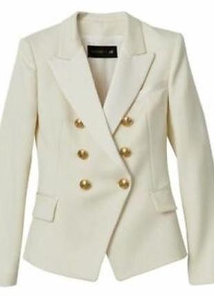 Брендовый бежевый коттоновый пиджак жакет блейзер с карманами h&m этикетка