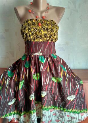 Красивое платье бюстье из натуральной ткани miss posh, цветочный принт, 44-46-48