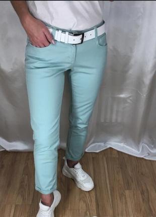 Укороченные мятные брюки laura torelli