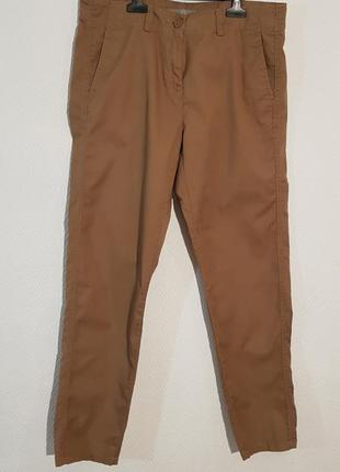Хлопковые брюки цвета camel от marks&spencer р. 12 l