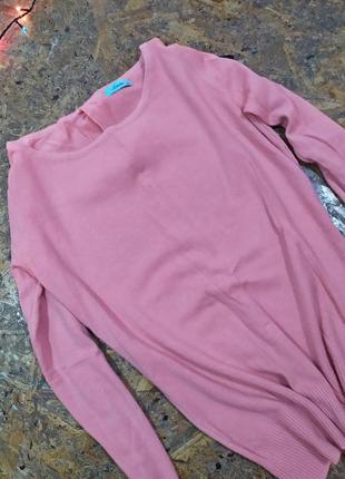Нежный персиковый свитер  с бантиками  на спине / пудровый свитерок / кофта легкая