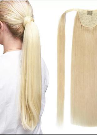 Шиньон блонд натуральный волос