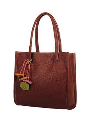 Стильная сумка шоппер коричнево кирпичный цвет .цветочный декор