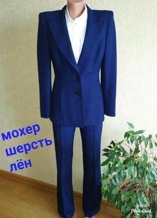 👑 люксовый 👑 брючный костюм escada,мохер, шерсть, лён,р.34
