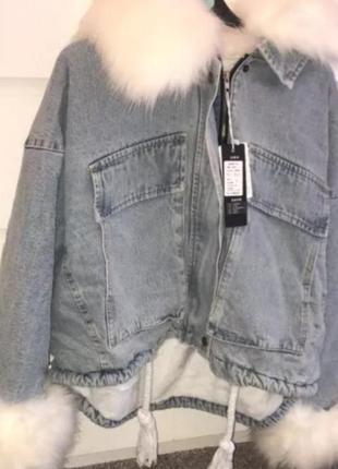 Шикарная джинсовка с мехом