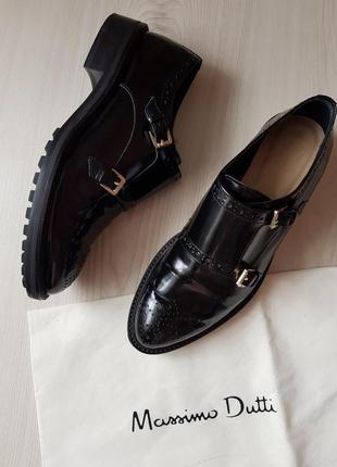 Кожаные лоферы,криперы, туфли massimo dutti