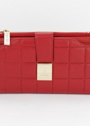 Кошелек женский кожаный 6911 красный, 20 ячеек для карт