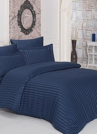 Комплекты постельного белья st-1012 страйп-сатин сатин синий