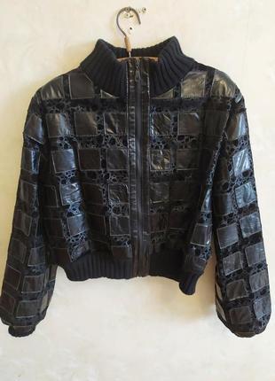 Винтадная кожаная куртка оверсайз кожанка натуральная кожа винтаж ретро