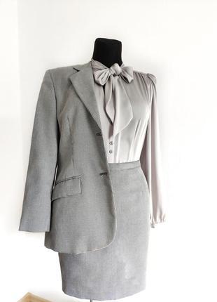 Костюм блейзер и юбка в принт гусиная лапка sisley италия винтаж размер 42